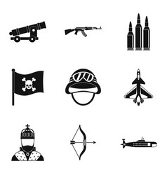 Type of weapon icons set simple style vector
