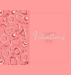 valentines day greeting card decorated 3d coral vector image