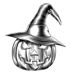 Vintage halloween witch pumpkin vector