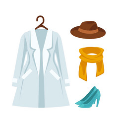 Wardrobe outerwear clothes isolated flat vector