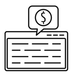 web page finance icon outline style vector image