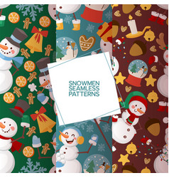 winter holidays snowman set seamless patterns vector image