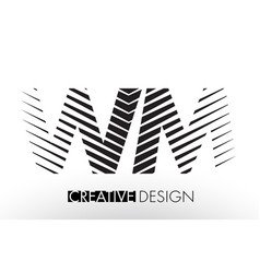 Wm w m lines letter design with creative elegant vector