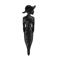 woman silhouette with elegant hat vector image