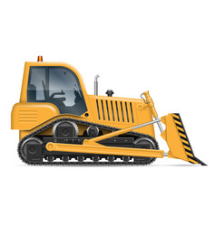 yellow bulldozer vector image