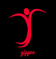 Yippee a stylized man jumps for joy vector