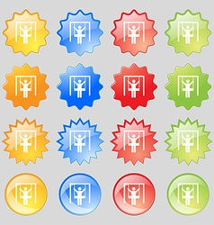 child swinging icon sign Big set of 16 colorful vector image vector image