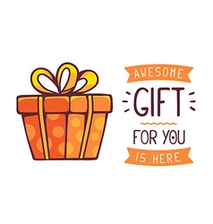 great red gift box with title awesome gif vector image