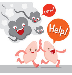 lungs run away from smoke cartoon character vector image vector image