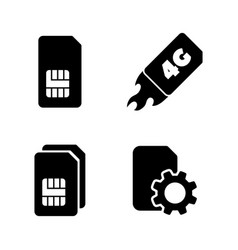 4g sim card simple related icons vector image
