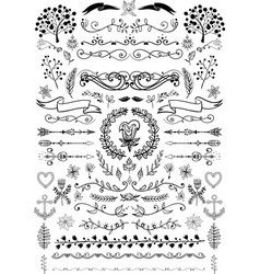 big set of vintage elements decoration vector image