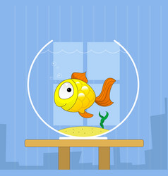 cartoon cute golden fish in bowl vector image vector image