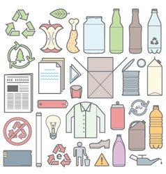 color outline separated waste outlines icons and vector image vector image