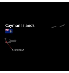 Detailed map of Cayman Islands and capital city vector image