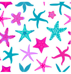 sea stars seamless pattern marine and nautical vector image