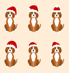 christmas funny dogs in different santa hats vector image