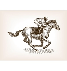 Horse races sketch style vector image vector image