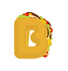 letter b tacos mexican fast food font taco vector image vector image