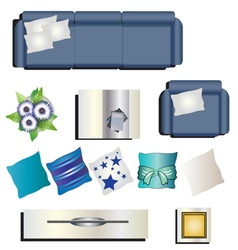 Living room furniture top view set 8 for interior vector image
