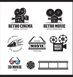 retro cinema labels set vintage vector image vector image