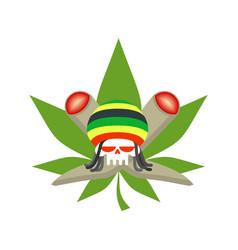 rasta logo rastafarian hat and skull joint or vector image vector image