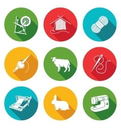 Wool knitting Icons Set vector image