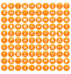 100 database icons set orange vector