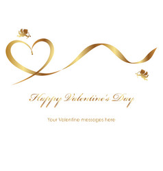 a valentine card with a gold ribbon and text space vector image