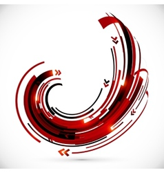 Abstract red and black techno arrows frame vector image