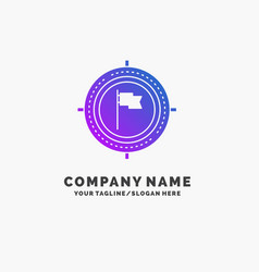 aim business deadline flag focus purple business vector image