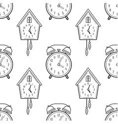 alarm clock and cuckoo clock black and white vector image
