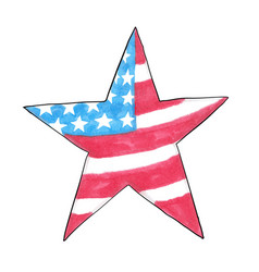 american flag in the shape of a star hand-drawn vector image