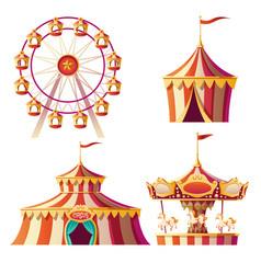 amusement park carnival or festive fair cartoon vector image
