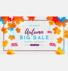 Autumn big sale watercolor poster with autum vector