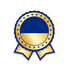 award ribbon isolated gold blue design medal vector image