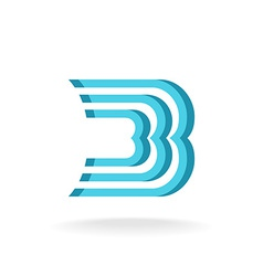 B letter logo template Parallel lines style vector image
