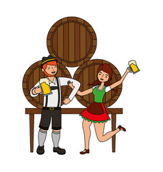 bavarian man and woman with beer barrels vector image
