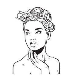 beautiful woman face hand drawn young girl vector image