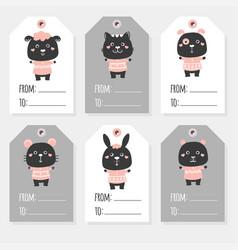 Black and white farm animals set sheep kitten vector