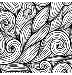 Black doodle hair waves seamless pattern vector