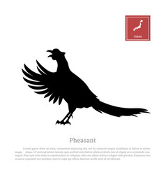 Black silhouette of a japanese green pheasant vector