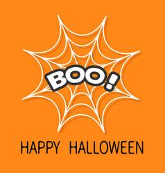 Boo text spider round web cobweb white decoration vector