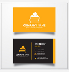 Books with apple icon business card template vector