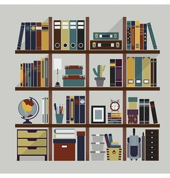 Bookshelf with various objects and accessories vector