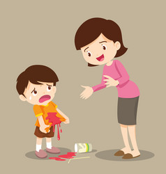 Boy stained at the shirt with mom forgive vector