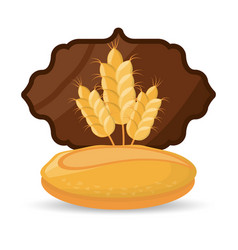 Bread wheat food breakfast badge vector