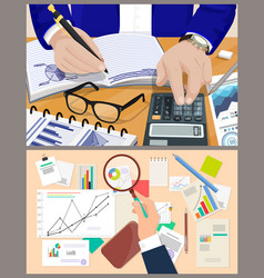 business charts office reports and counting man vector image