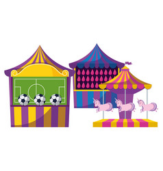 carnival kiosks with soccer balloons and carousel vector image