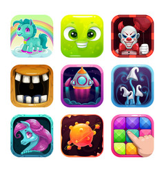 cartoon app icons for game or web design vector image