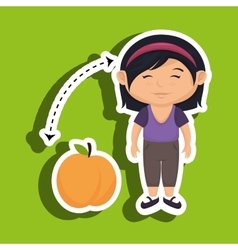Cartoon girl peach fruit vector